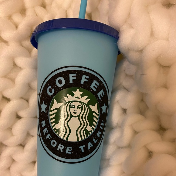 Custom black glitter blue color changing cold cup